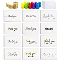 60 Thank You Cards with Envelopes, 120 pcs Thank You Sealer Stickers, 10 Decorative Stamps for Graduation, Business, Wedding, Bridal Party, Baby Shower, Blank Inside