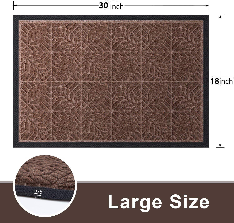 2 Pack Outside Shoe Mat Rubber Doormat for Front Door 18x 30 Outdoor Mats Entrance Waterproof Rugs Dirt Debris Mud Trapper Carpet for Patio Non Skid Doormats all Weather Exterior Door Mat