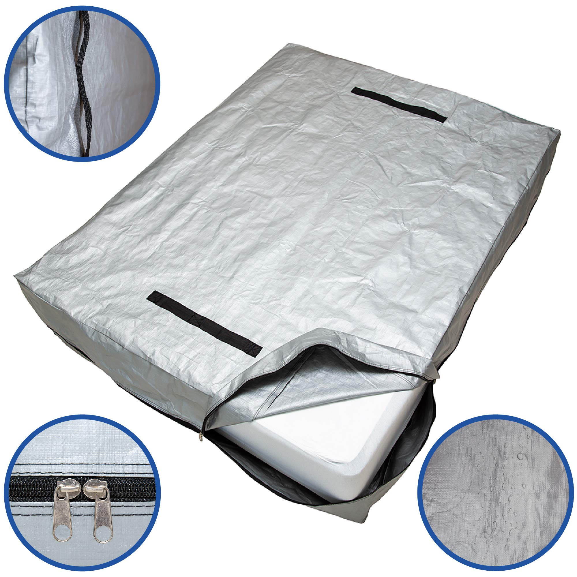 Caloona Inc Mattress Bags for Moving and Storage-Reusable Mattress Cover for Moving with Reinforced Handles and Heavy Duty Zipper. Mattress Storage Bag Queen, King, Full, Twin Sizes (Twin) by Caloona Inc