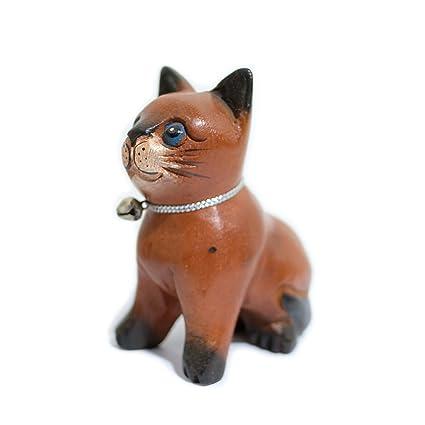 Hecho a mano madera gatos cute figuras decorativas
