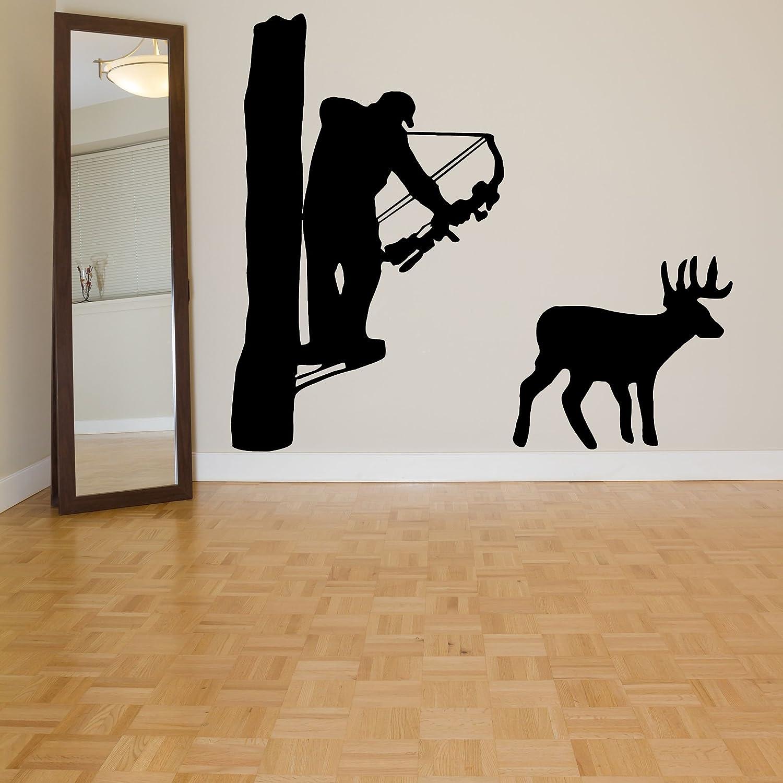 Wall Room Decor Art Vinyl Sticker Mural Decal Deer Hunter Archer Hunt Arrow Buck Bow Big Large AS1089