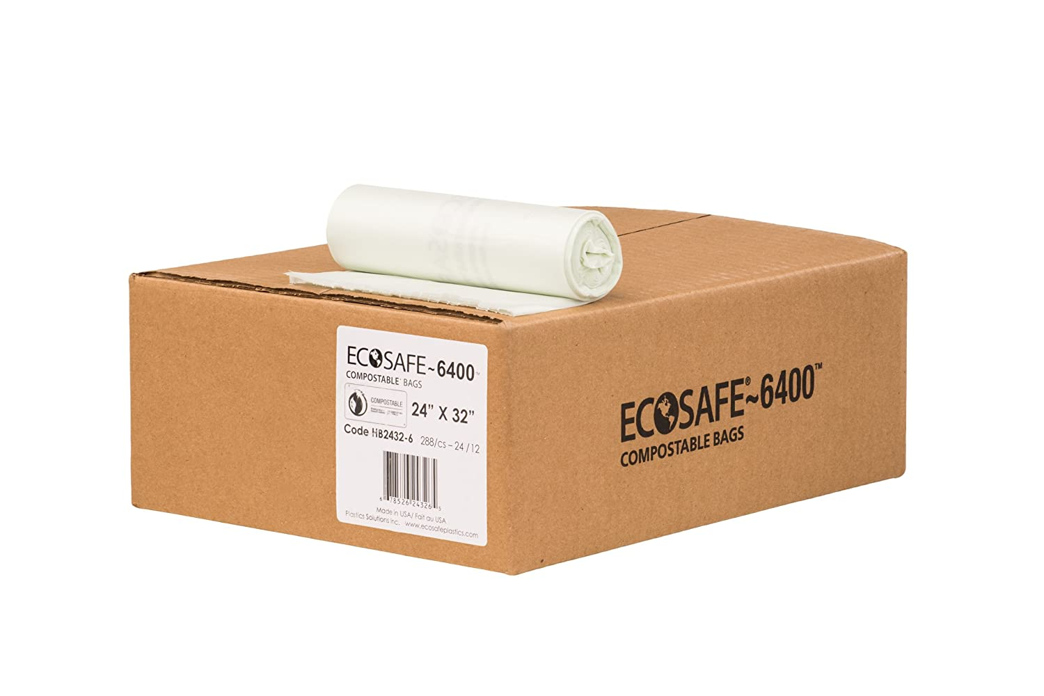 EcoSafe-6400 HB2432-6 Compostable Bag, Certified Compostable, 13-Gallon, Green (Pack of 288)