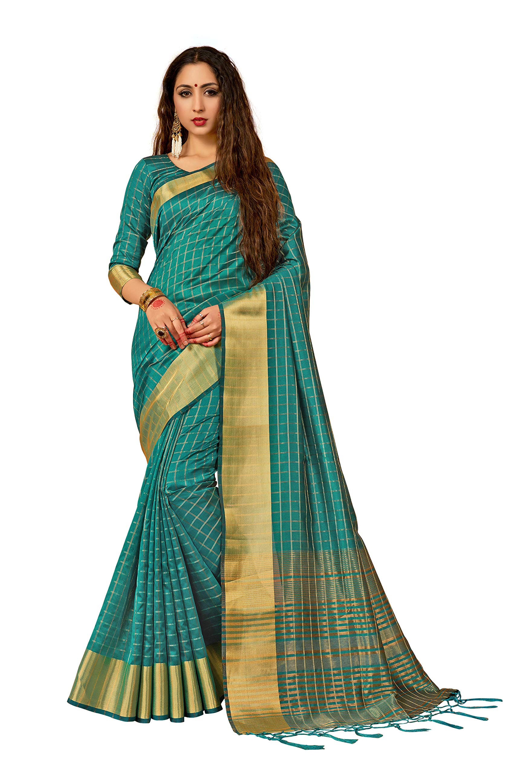 Sarees for Women Art Silk Woven Saree l Indian Ethnic Wedding Gift Sari with Unstitched Blouse Teal