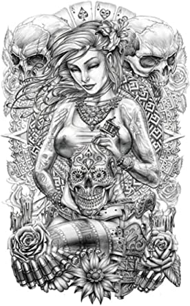 Amazon Com Sugar Skull Women Large 8 25 Half Sleeve Arm Tattoo Tattoo Body Art Clothing,Retail Store Small Shoe Shop Interior Design Ideas