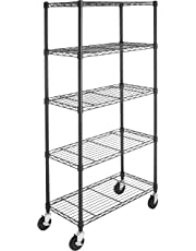 AmazonBasics 5-Shelf Shelving Storage Unit on 4'' Wheel Casters, Metal Organizer Wire Rack, Black