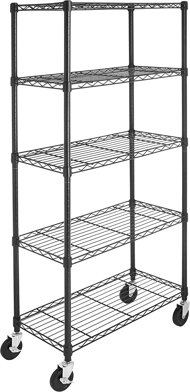 AmazonBasics 5-Shelf Shelving Unit on 4