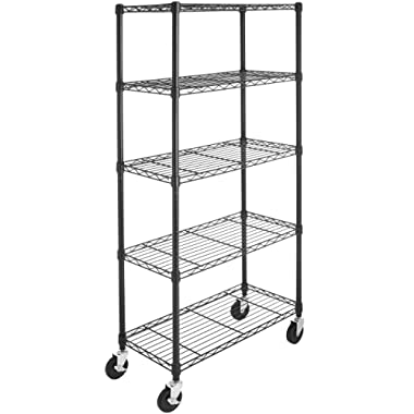 AmazonBasics 5-Shelf Shelving Unit on 4'' Casters, Black