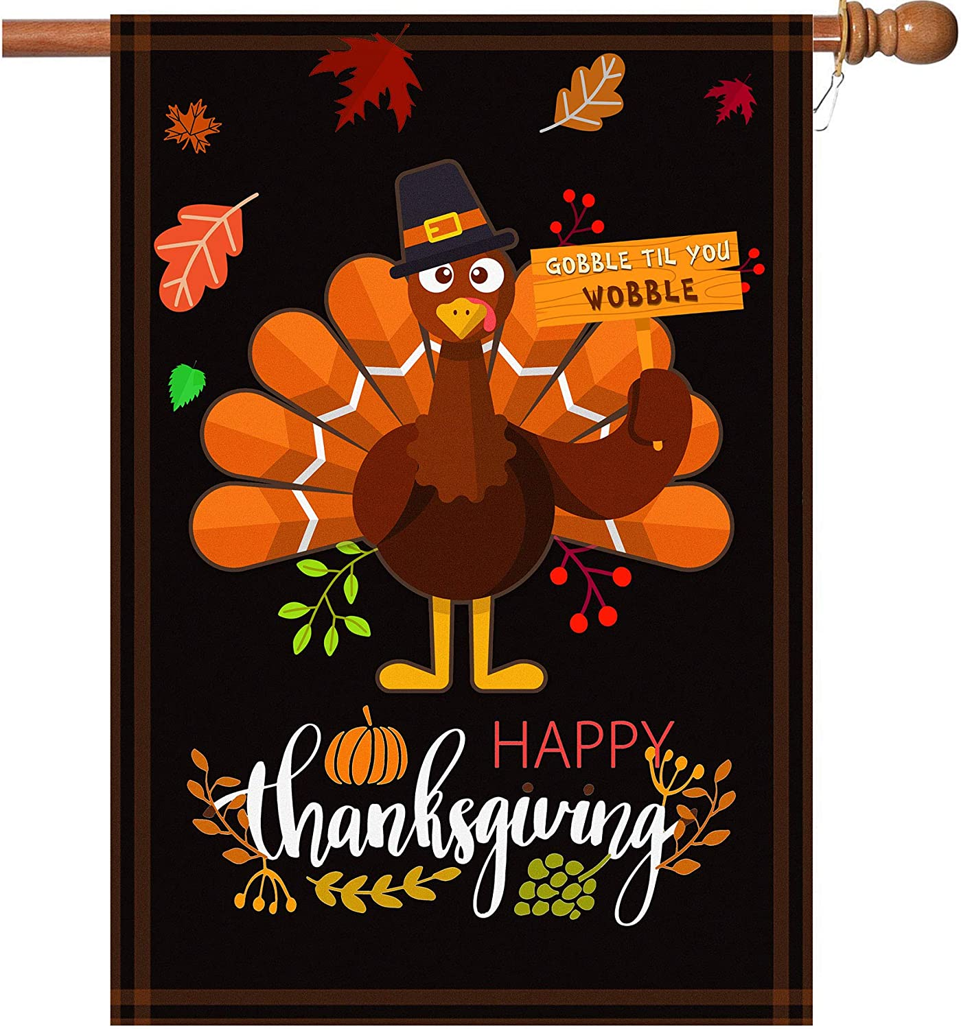 BOUTIQUE_GOODS Happy Thanksgiving Flags,Thanksgiving Garden Flag 28 x 40 Inch Thanksgiving House Flag Double-Sided 2 Layer Thanksgiving Turkey House Flag for Thanksgiving Decoration