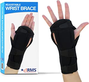 RMS Wrist Brace (Left or Right Hand) - Hand Support Splint and Wrist Strap for Carpal Tunnel, Arthritis, Wrist Injury Relief for Men or Women