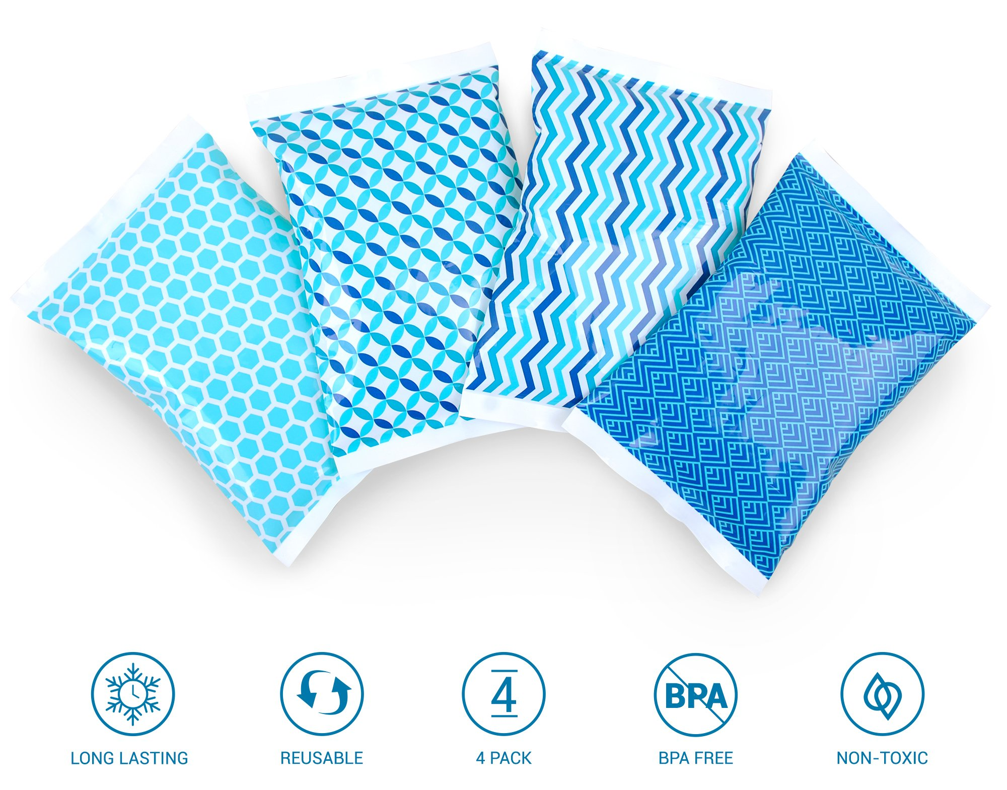 Ice Pack for Lunch Boxes - 4 Reusable Packs - Keeps Food Cold – Cool Print Bag Designs - Great for Kids or Adults Lunchbox and Cooler by Thrive (Image #3)