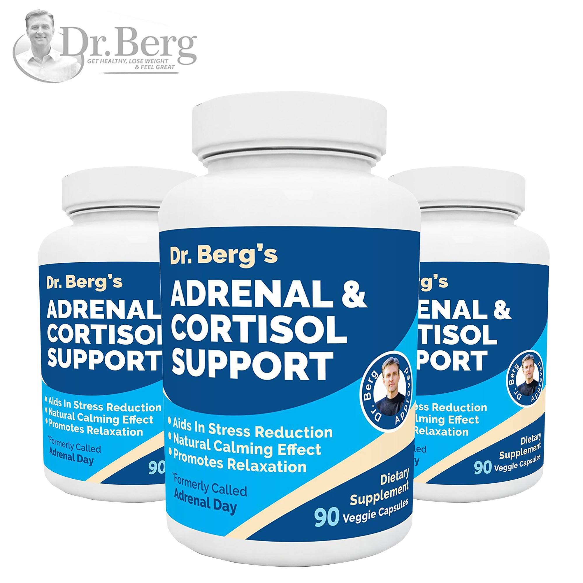 Dr. Berg's Adrenal & Cortisol Support: Natural Stress & Anxiety Relief for a Better Mood, Focus and Relaxation; Turn Off Your Busy Mind, Vegetarian Ingredients : 90 Capsules (3 Pack) by Dr. Berg's Nutritionals (Image #1)