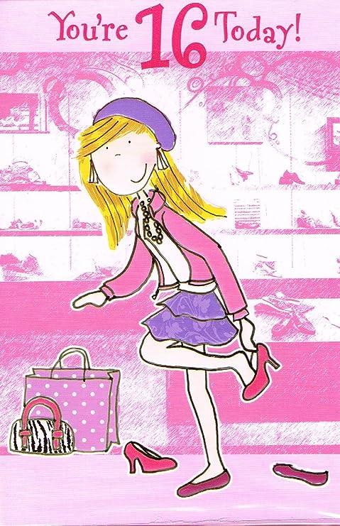 Tarjeta de cumpleaños - chica 16 años (280se158322): Amazon ...