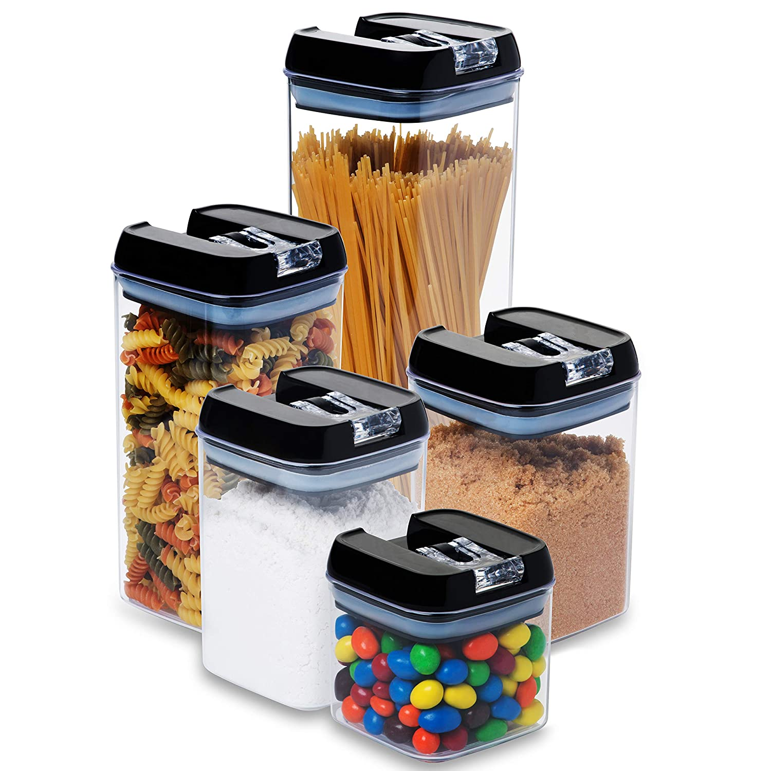 3 pc. Set Clear Food Containers w Airtight Lids Canisters for Kitchen and Pantry Storages - Storage for Cereal, Flour, Cooking - BPA-Free Plastic Guru Products
