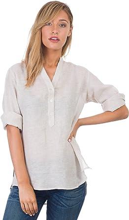 CAMIXA Blusa de Mujer Puro Lino Camisa Fluida Túnica Suave Top Fresco: Amazon.es: Ropa y accesorios
