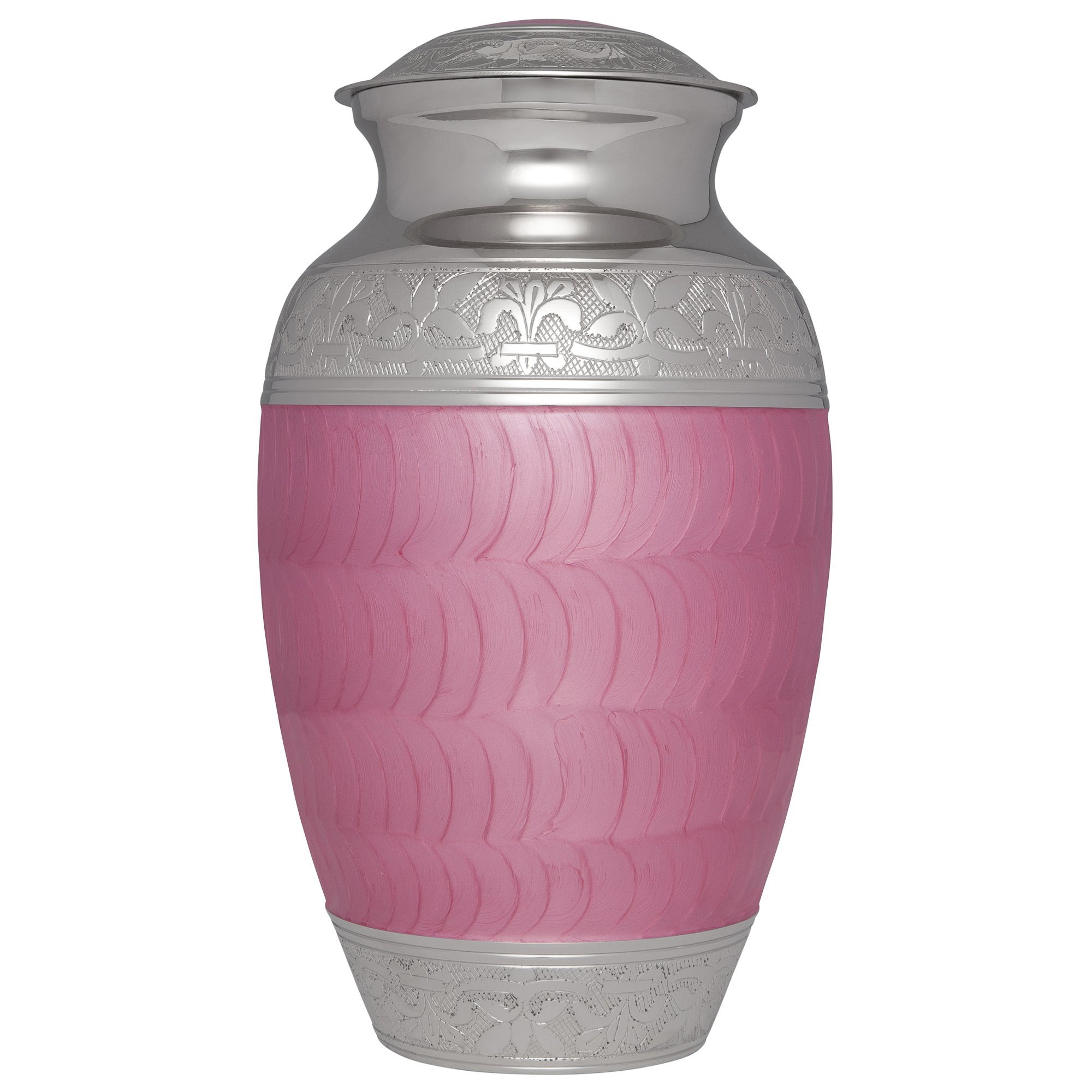 Pink Funeral Urn by Liliane Memorials - Cremation Urn for Human Ashes - Hand Made in Brass - Suitable for Cemetery Burial or Niche - Large Size fits remains of Adults up to 200 lbs - Olas Pink Model