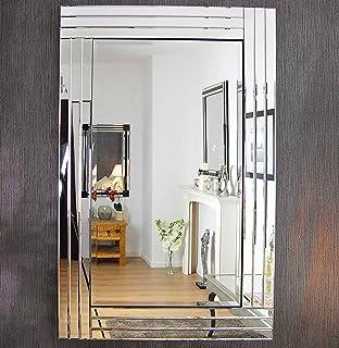 Large Modern Art Deco Rectangular Beveled Glass Wall Mirrors