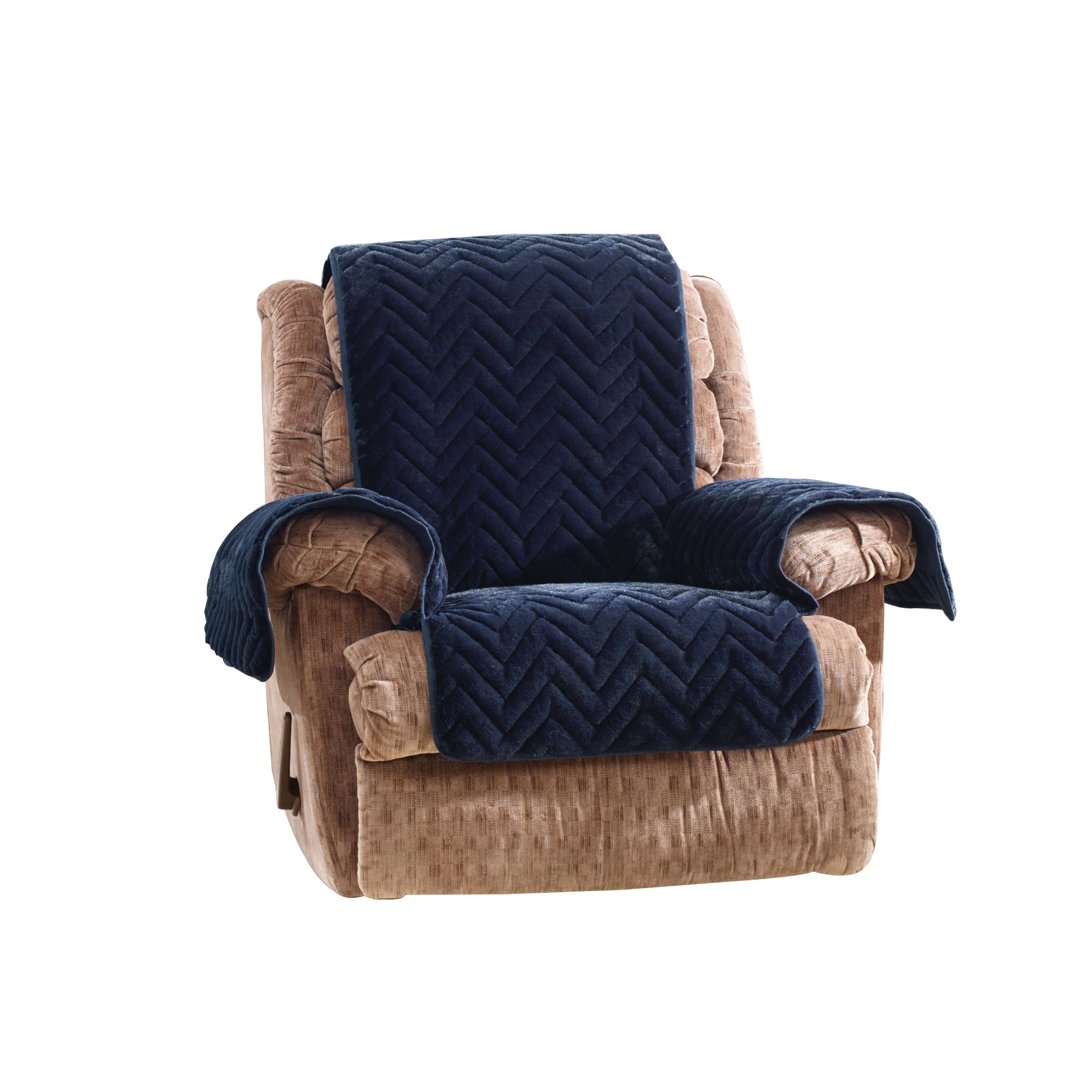 Sure Fit Quilted Faux Fur Furniture Cover, Recliner, Navy