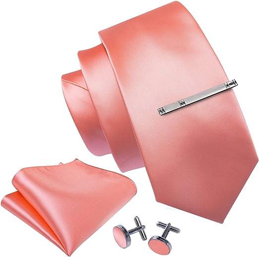Handmade Plain Bright Red Satin Classic Men/'s Tie and Pocket Square Set Regular