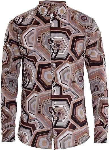 Giosal - Camisa para Hombre, Cuello de fantasía, marrón ...