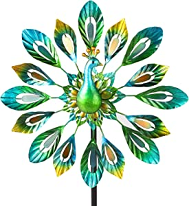 TheirNear Wind Spinner Yard Decorations, Outdoor Metal Windmil Garden Decor Art for Outside Patio
