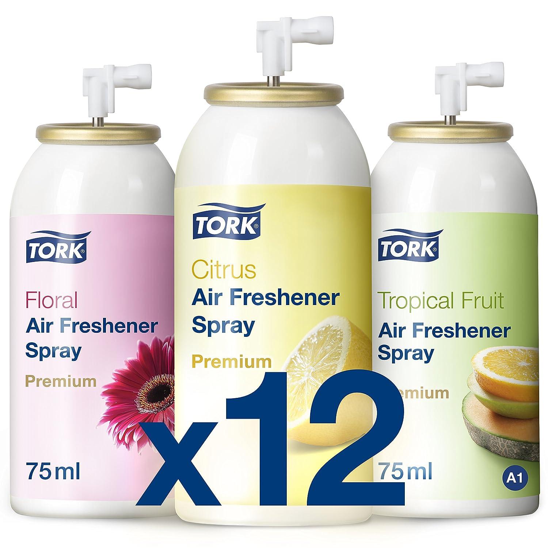 Tork 236056 Pack mixto de ambientadores en spray / Recambios de atomizadores de espray compatibles con el sistema A1 de Tork / Cítrico,Floral y Frutal: ...