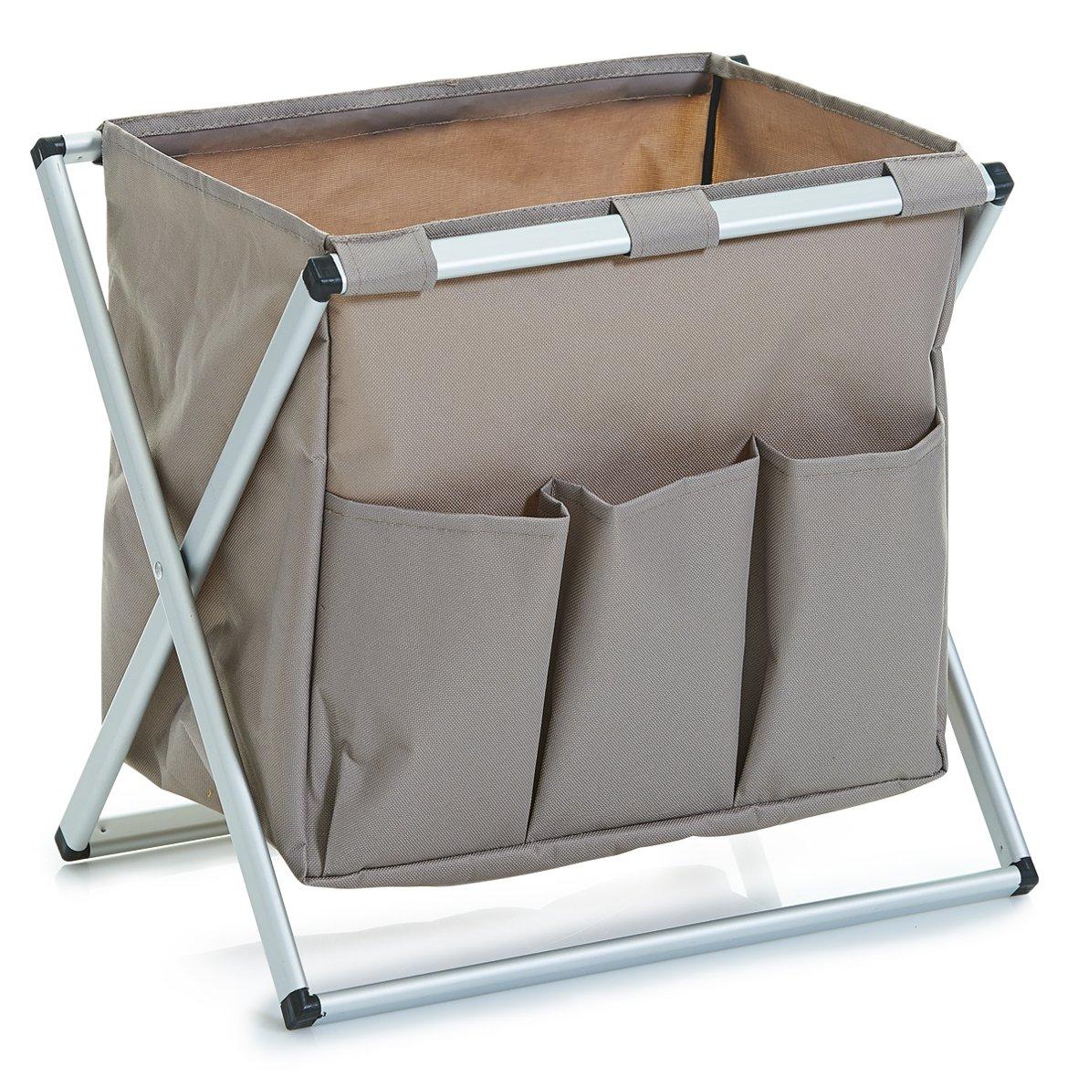 Zeller 13231 - Contenitore Porta riviste in Poliestere/Alluminio, 37,5 x 27 x 33 cm, Colore: Tortora