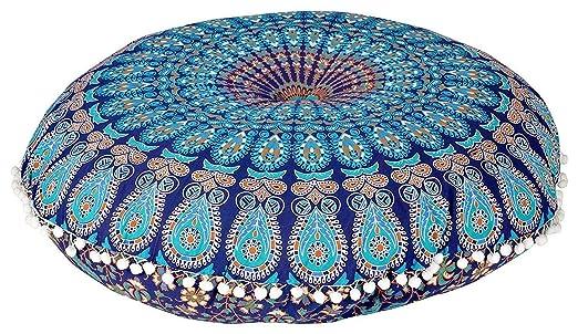Funda de cojín redonda hecha a mano de 81 cm con diseño de mandala india para decoración del hogar, diseño de puf bohemio, 100% algodón, multicolor, ...