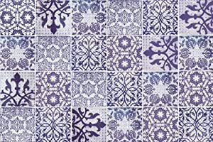 24PCS Moroccan Style Decorative Self-Adhesive Tile Stickers, HOLENGS Peel and Stick Removable Waterproof Wallcovering, Wall Floor Tile Decals for Bathroom Kitchen Backsplash Furniture Stairs Decor