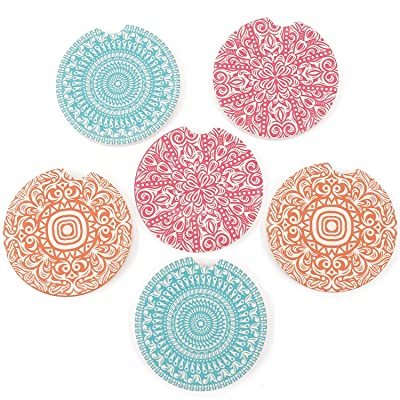 Pack of 6 Ceramic Car Absorbent Coasters Auto Cup Holder Coasters Car Accessories To Keep Your Car Cup Holders Clean and Dry 2.56'' Fit Most Cars(Mandala Flower): Kitchen & Dining