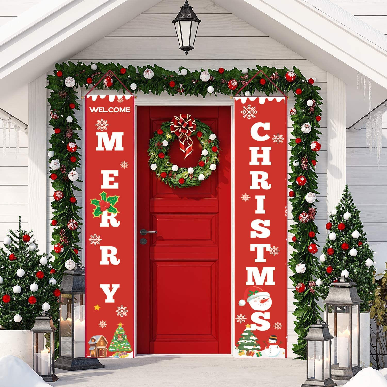 MAFENT Christmas Door Banner Merry Christmas Welcome Christmas Porch Sign Xmas Decor Christmas Indoor Outdoor Sign for Home Decor (Red,Green,White)