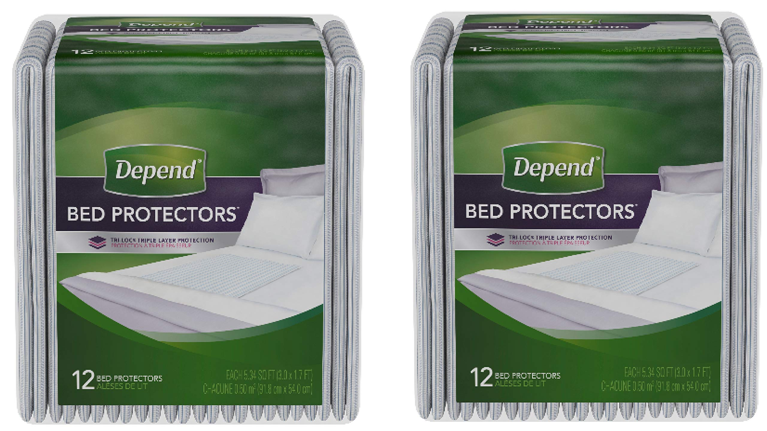 Incontinence Bed Protectors, Disposable Underpad, Overnight Absorbency, 12 Count Overnight Absorbency for a Restful Night's Sleep (Pack of 2) by Depend