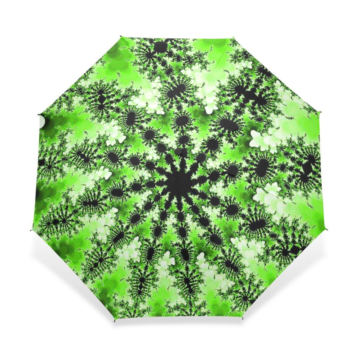 baihuishop防風ゴルフ傘、コンパクトで旅行for Easy Carryingスポーツ雨傘 – 強力なフレームUnbreakableライムグリーンMandelbrotフラクタルパターン   B01FQJIBNM