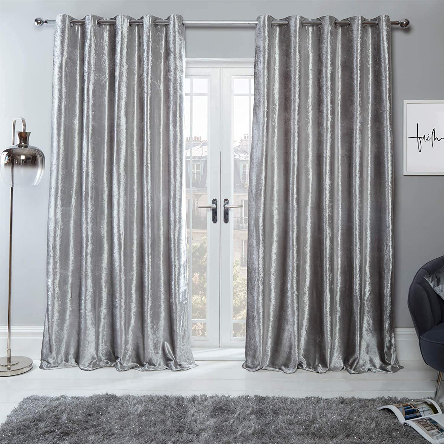 Sienna Crushed Velvet Eyelet Ring Top Pair Of Fully Lined Curtains Silver 90 X 90 Amazon Co Uk Kitchen Home