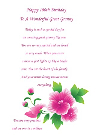 Great Granny 100th Birthday Card
