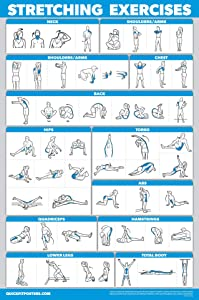 "QuickFit Stretching Workout Exercise Poster - Double Sided (Laminated, 18"" x 27"")"