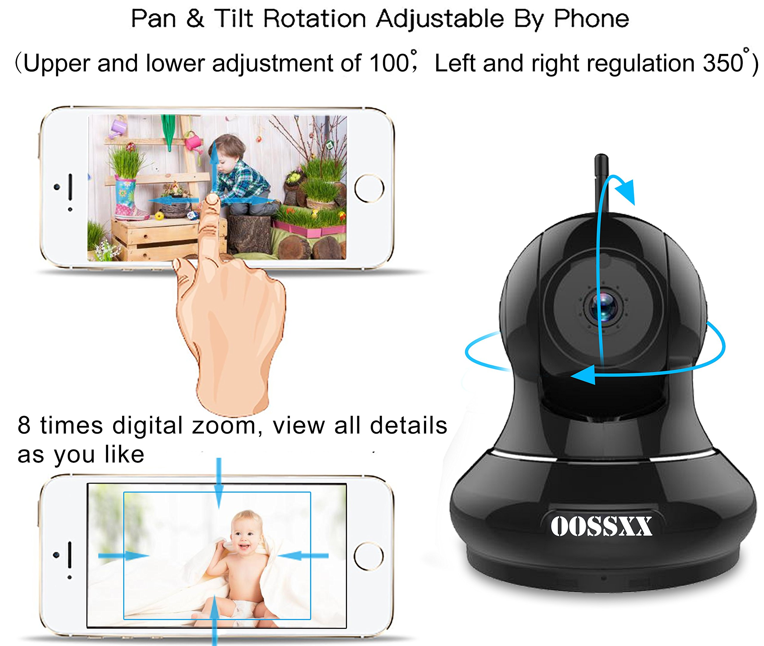 1080P Home/Business Wireless IP Camera, OOSSXX HD Indoor Wireless Security Camera with Motion Detection, Two Way Audio, Pan/Tilt, Night Vision, Multi camera preview,for Baby Monitor, Nanny Cam,Pet Cam by OOSSXX (Image #4)