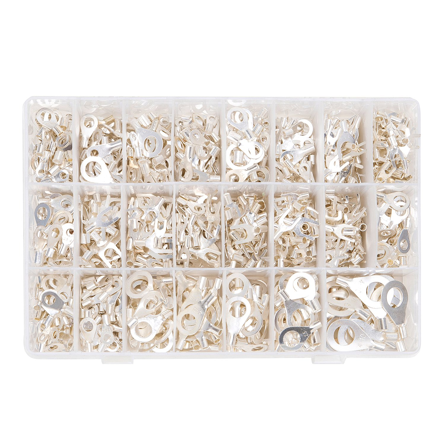 SwitchMe 1010 Pcs Wire Crimp Connectors Non-Insulated Tin-Plated Copper Wiring Ring Fork Terminals Assortment Kit