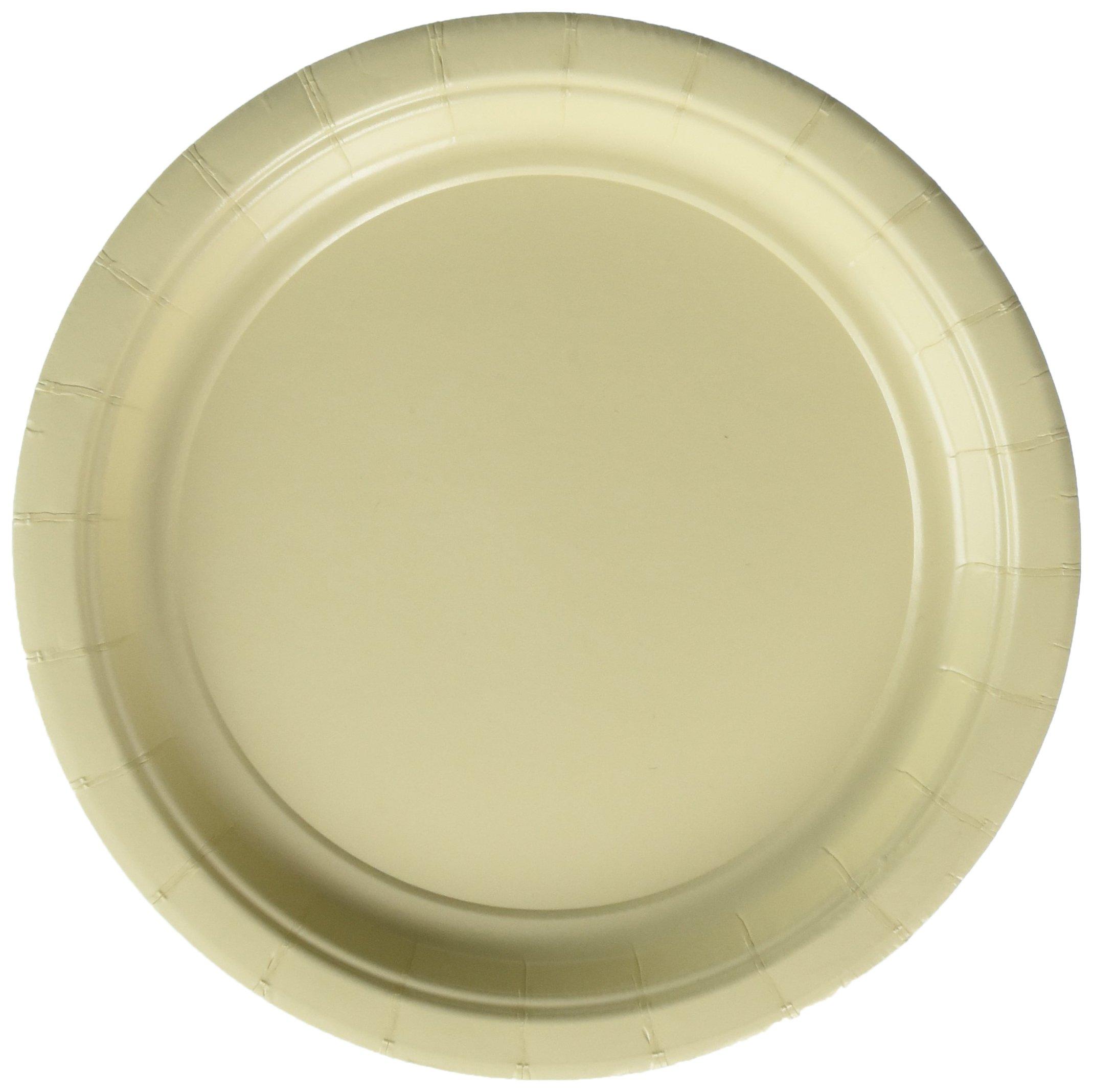 Amscan Durable Round Dessert Plates Big Bundle Party Tableware Paper, 7'', Pack of 50 Childrens, Vanilla Crème, 7''
