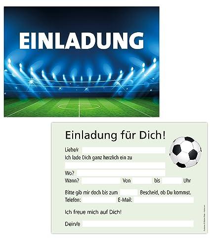 15er Kartenset Einladungskarten Kindergeburtstag Junge Geburtstagseinladungen Fussball Stadion Party Einladungen