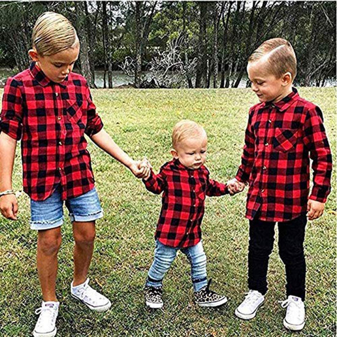 Kids Little Boys Girls Baby Long Sleeve Button Down Red Plaid Flannel Shirt Plaid Girl Boy 1-5T