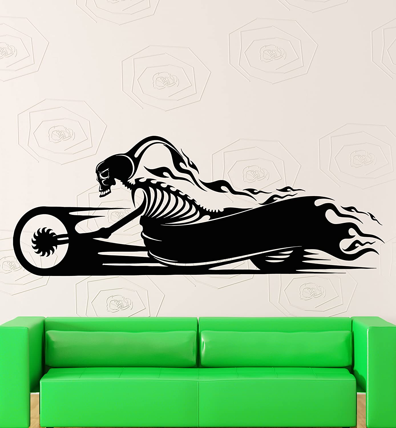 Amazon com wall stickers bike bikers skull ghost rider rocker cool decor z1716i home kitchen