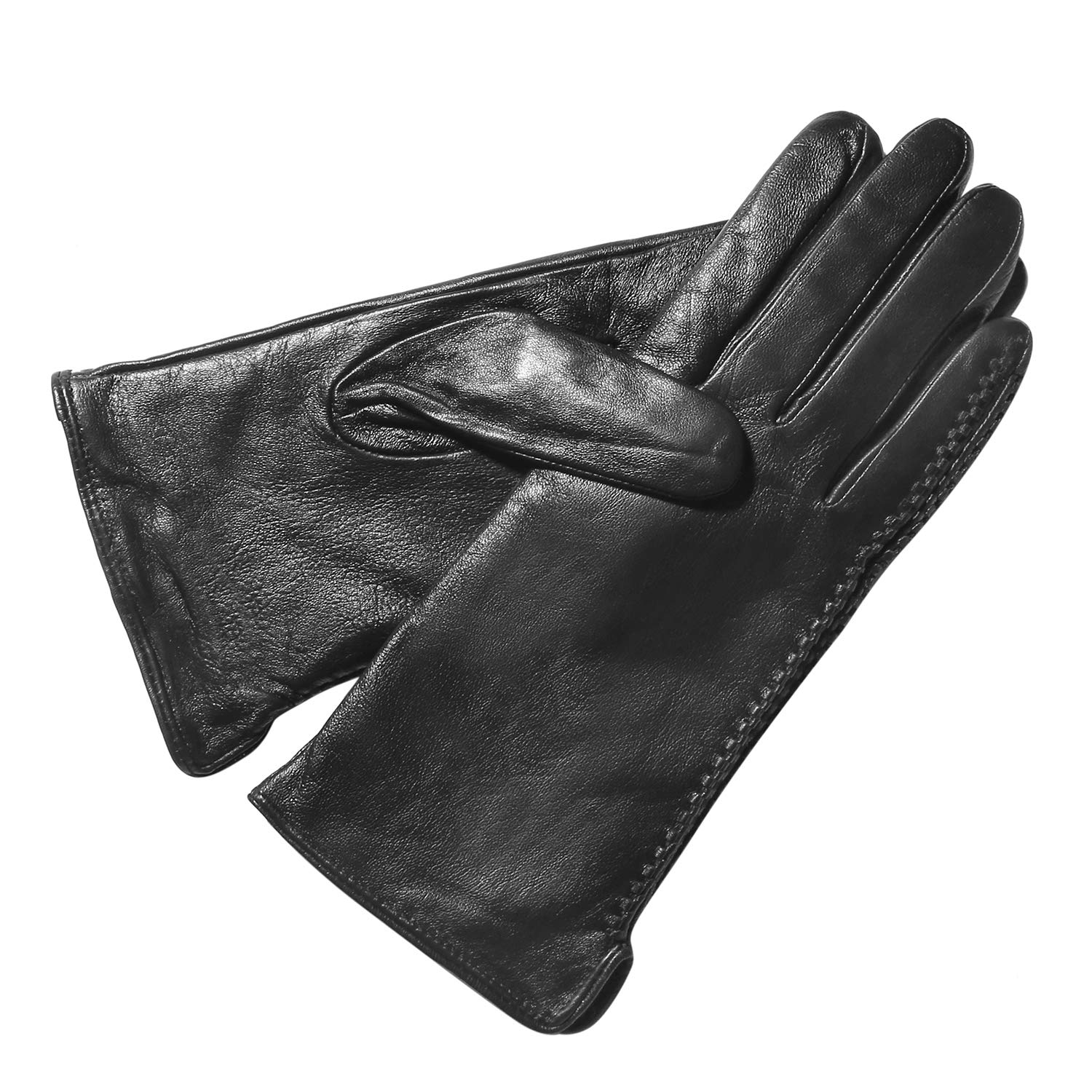 Women's Winter Sheepskin Gloves Full Hand Touch Screen Texting Warm Driving Locomotive Leather Gloves 100% Cashmere Lining by QNLYCZY