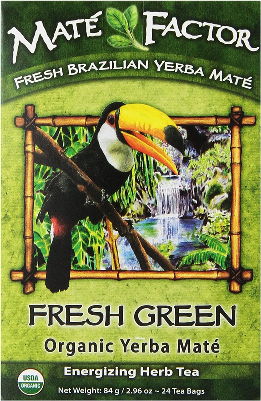 The Mate Factor Yerba Mate Energizing Herb Tea Bag, Organic Fresh Green, 24-Count Box