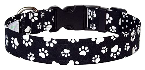 Handcrafted Dog Collar Paw Print Collar Puppy Collar Mini Dog Paw Prints on Black