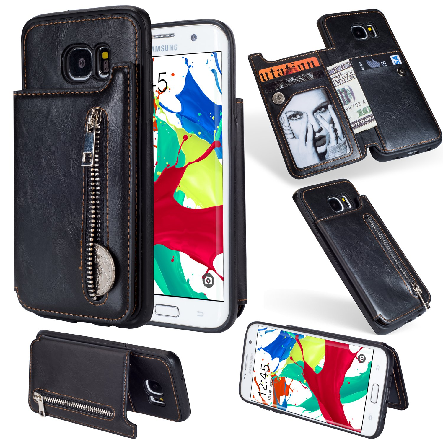 Zipper Wallet Case for Samsung Galaxy S7,Shinyzone Samsung Galaxy S7 Case with Money Pocket [One Magnetic Buckle] Premium Vintage Leather PU Flip Back Cover-Black