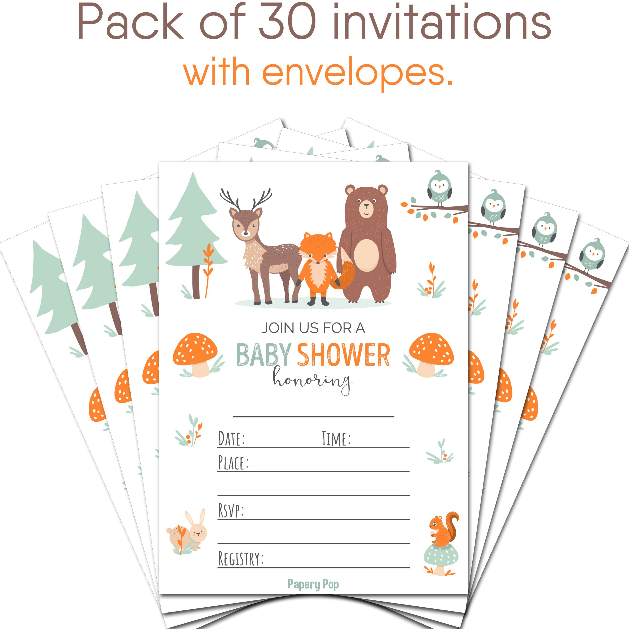 Papery Pop 30 Baby Shower Invitations Boy or Girl with Envelopes (30 Pack) - Gender Neutral - Fits Perfectly with Woodland Animals Baby Shower Decorations and Supplies by Papery Pop (Image #2)