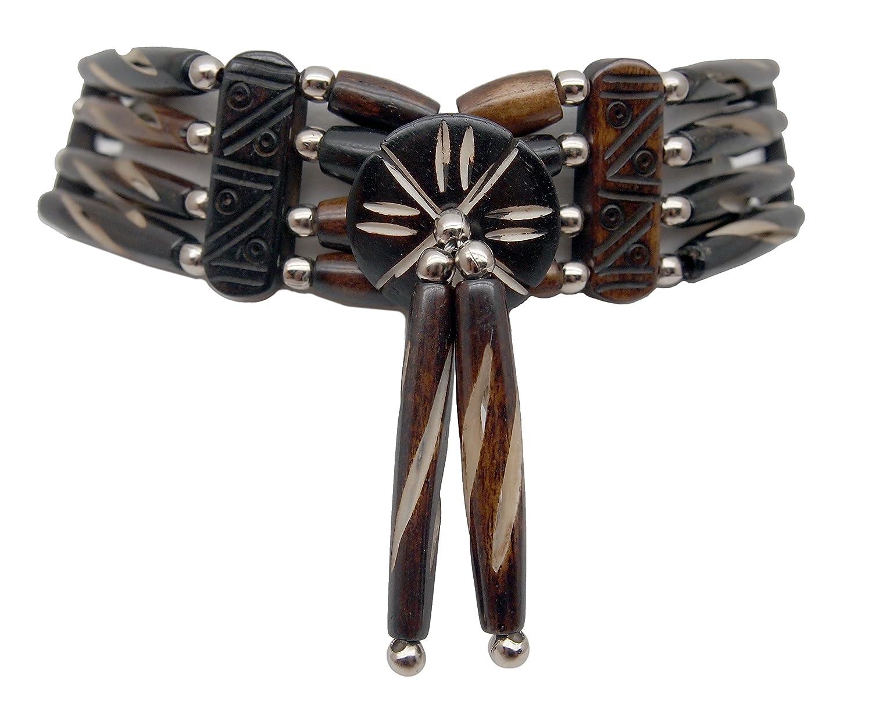 outROAR Gear Choker Necklace Four Row Slotted Mocha Bone Hairpipe