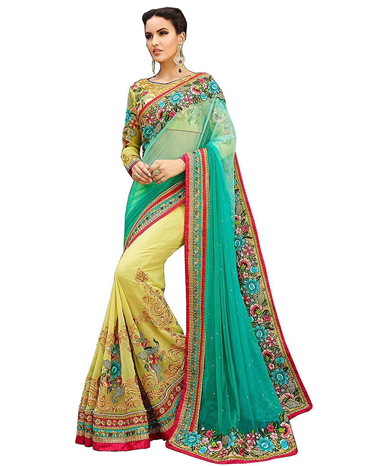 Femiss Georgette Green Saree With Blouse,Green,Free size by Femiss