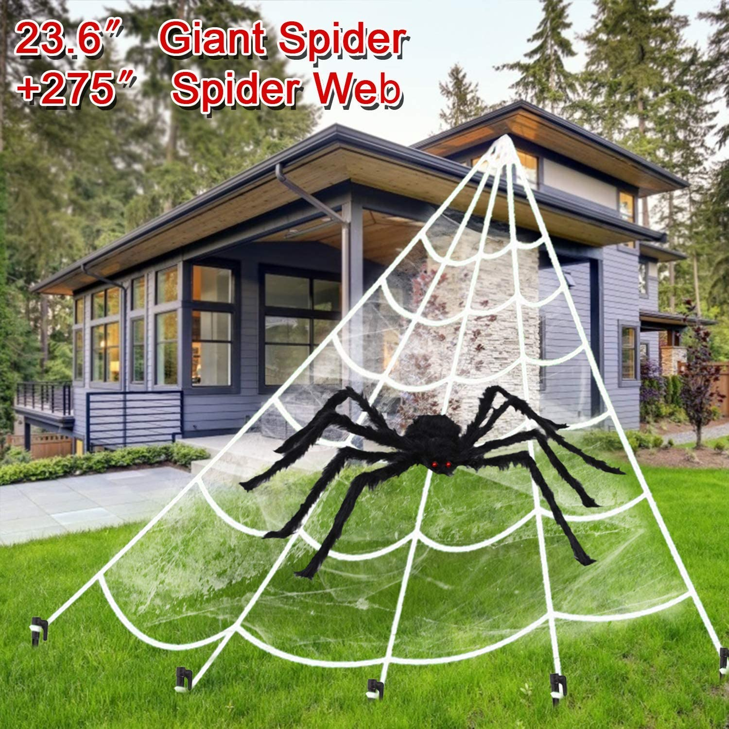 "Funitsv Halloween Gaint Spider Web 275"",23.6"" Hairy Fade Spider,Triangular Mega Spider Web with Super Stretch Cobweb Set for Halloween Decor Outdoor Yard Door Decor"