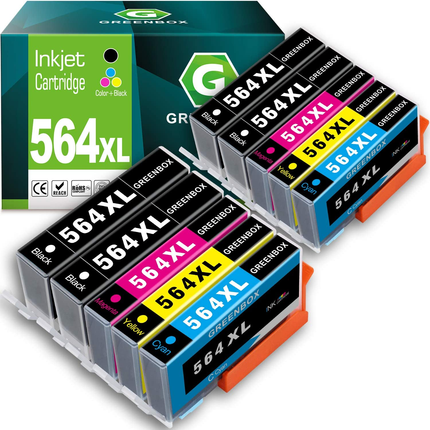 GREENBOX Compatible Ink Cartridges Replacement for HP 564XL 564 XL for HP DeskJet 3520 3522 Officejet 4620 Photosmart 5520 6510 6515 6520 7520 7525 D7560 (4 Black 2 Cyan 2 Magenta 2 Yellow)